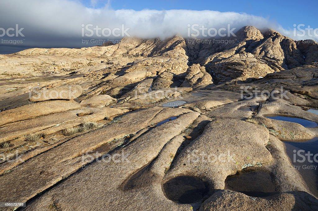 Desert mountains Bektau-Ata in Kazakhstan royalty-free stock photo