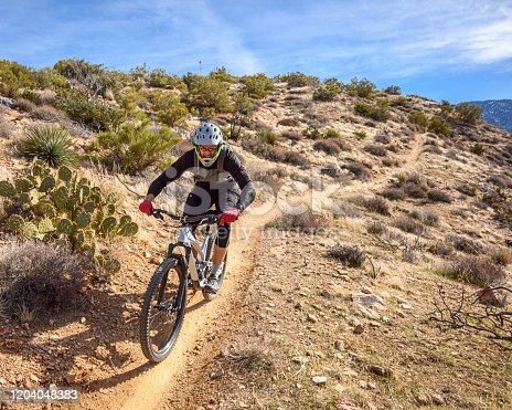 A high elevation desert mountain bike ride in Palm Springs, California.