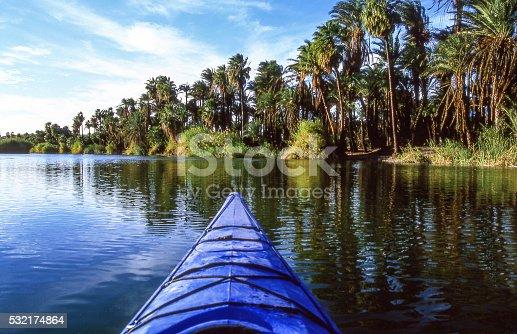 Kayaking in the San Ignacio oasis. Baja California, Mexico.