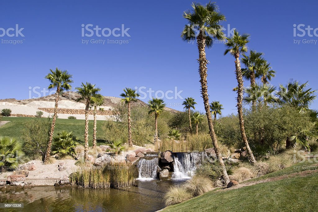 Desert oasis with waterfall royalty-free stock photo