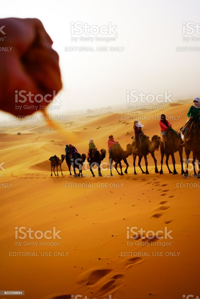 Image of: Dune Desert Of Bedouin With Travelers Stock Image Istock Desert Of Bedouin With Travelers Stock Photo More Pictures Of