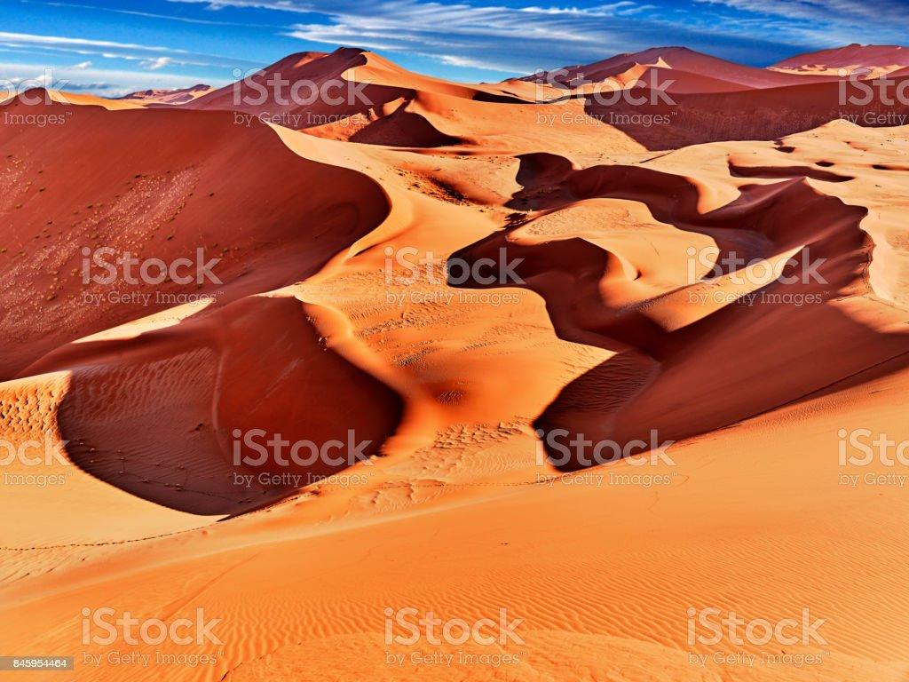 desert of namib with orange dunes stock photo