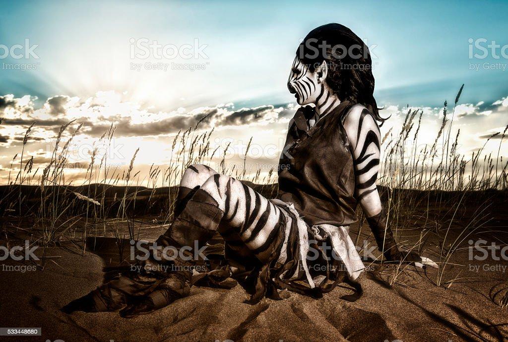 Desert Queen - Humanoid Zebra stock photo