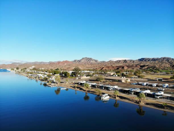 Desert River RV Park on Colorado River Near Parker AZ -Aerial View 1 stock photo