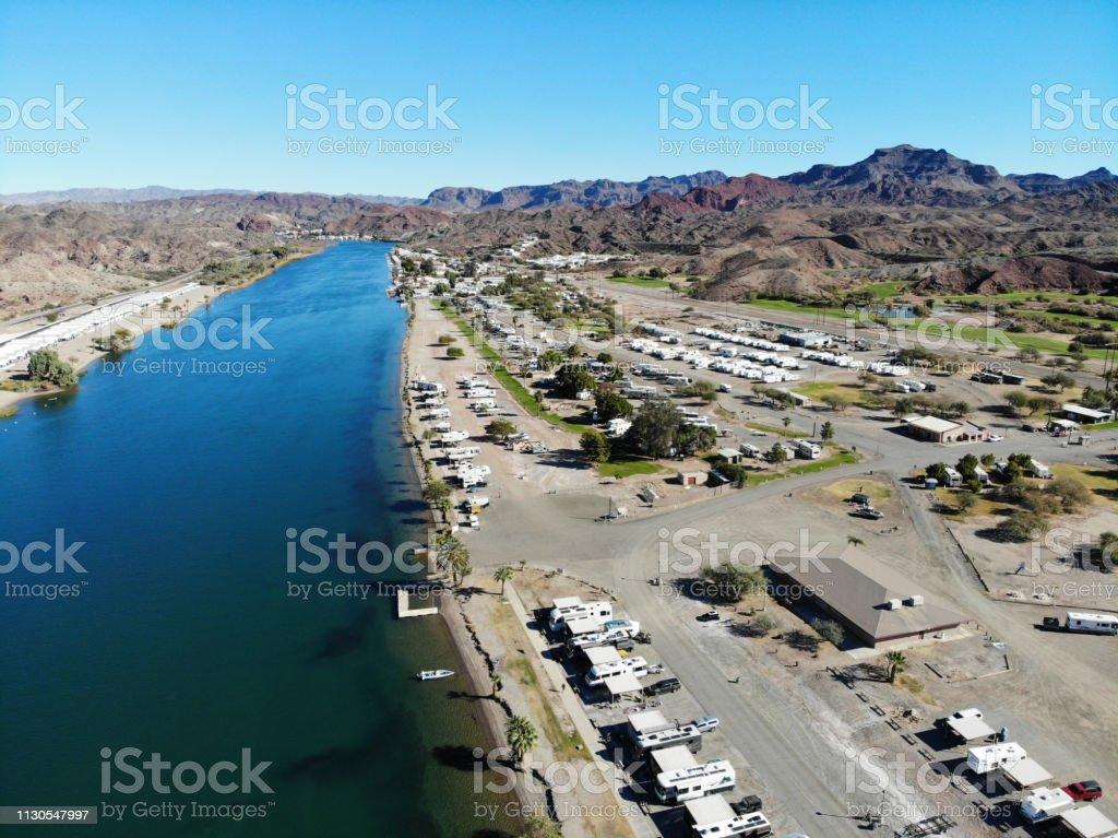 Desert River RV Park on Colorado River Near Parker AZ -Aerial View 2 stock photo