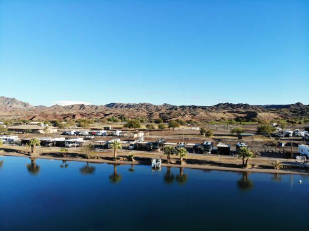 Desert River RV Park on Colorado River Near Parker AZ -Aerial View 3 stock photo