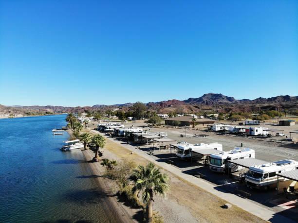 Desert River RV Park on Colorado River Near Parker AZ -Aerial View 4 stock photo