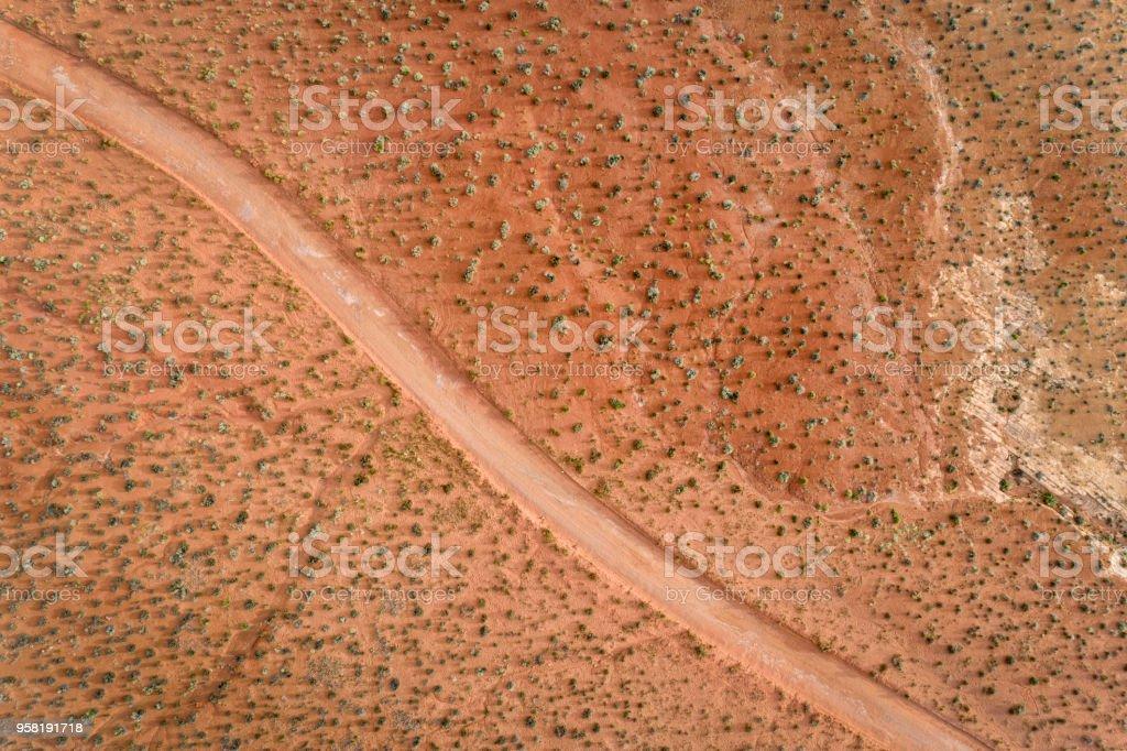 desert road aerial view stock photo