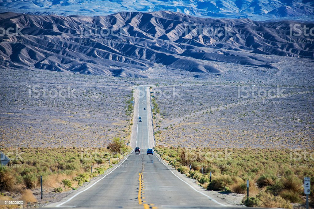 Desert Road in Death Valley California stock photo