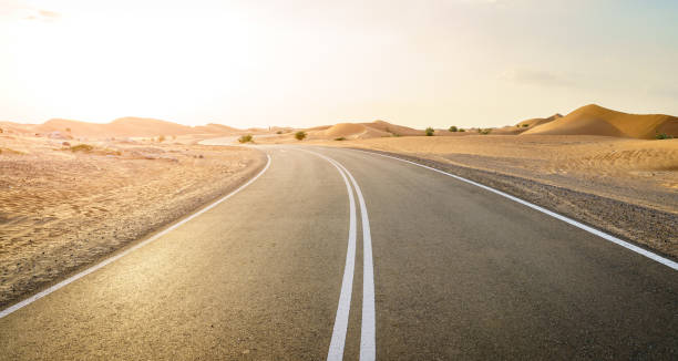 Desert road in the Middle East stock photo