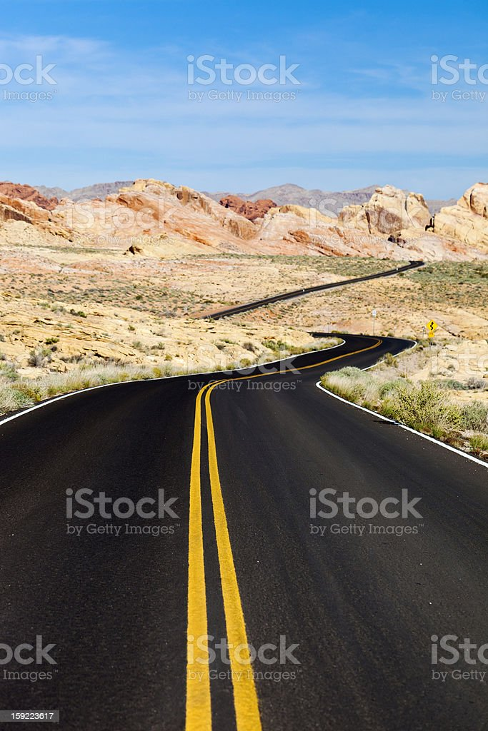 Desert Road In The Valley Of Fire State Park, Nevada royalty-free stock photo