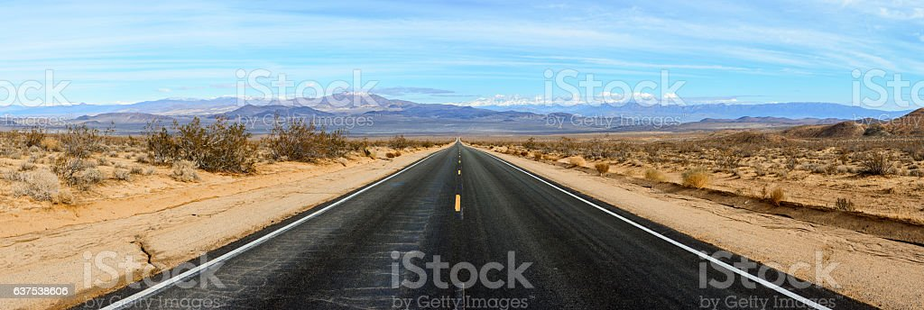 Desert Road Panorama stock photo