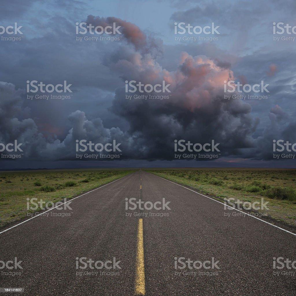 XXL desert road thunderstorm stock photo