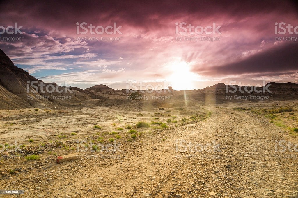 desert road trip landscape stock photo