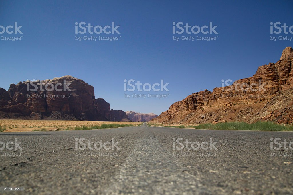 Desert Road Vanishing Point stock photo