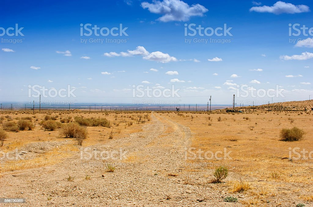 Desert Road with Power Pylons in the Background stock photo