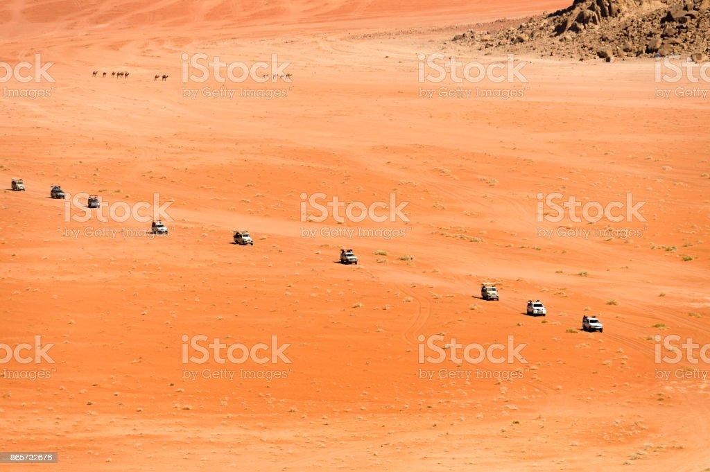 Desert Safari Trucks driving on Wadi Rum Desert, Jordan Camel Stock Photo