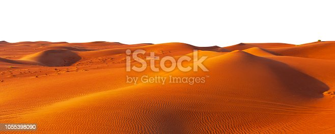 istock desert sand and dunes isolated on white 1055398090