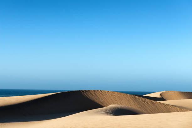 Desert sand dunes and sea at the Atlantic coast of Morocco. stock photo