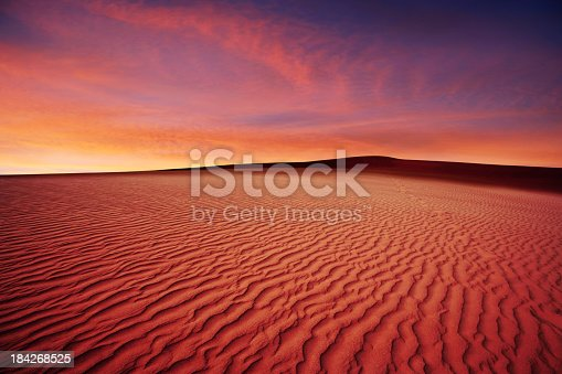 rippled desert sand dunes at sunset (XL)