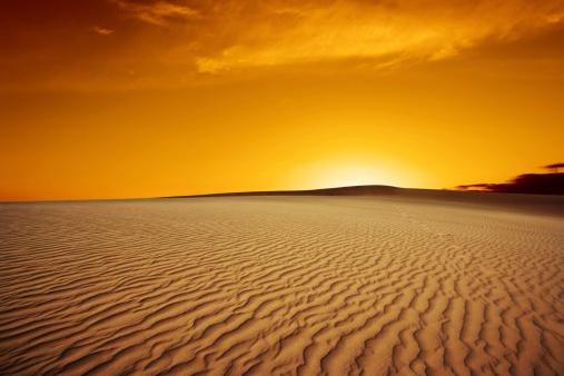rippled desert sand dunes at sunset (XL)