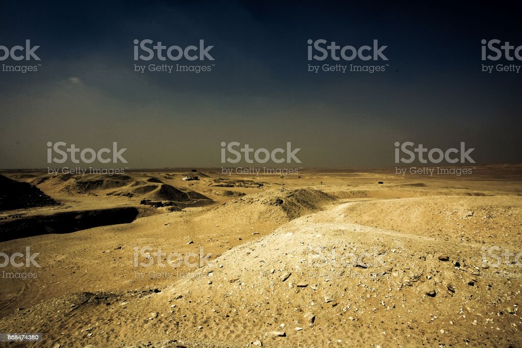 Desert scenery behind the pyramid area of Cairo stock photo