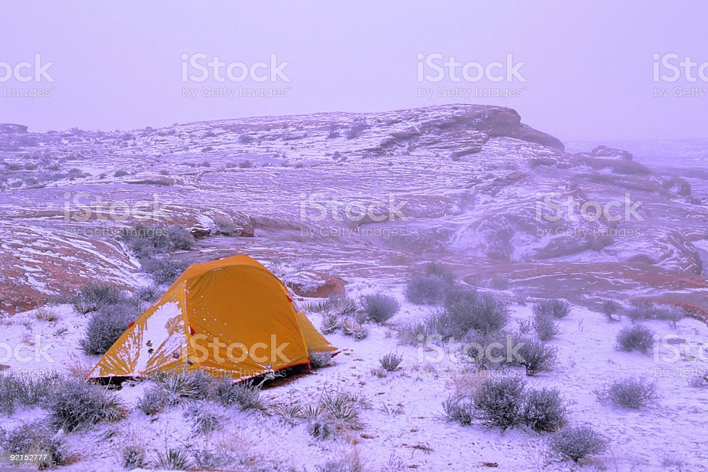 desert snow and tent royalty-free stock photo