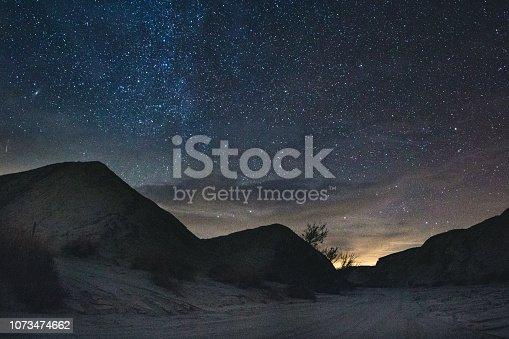 Stars over an arroyo in Anza Borrego Desert State Park, CA