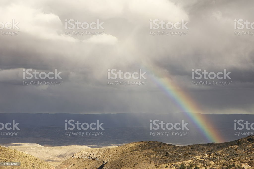 Desert Storm Rainbow Cloudscape royalty-free stock photo