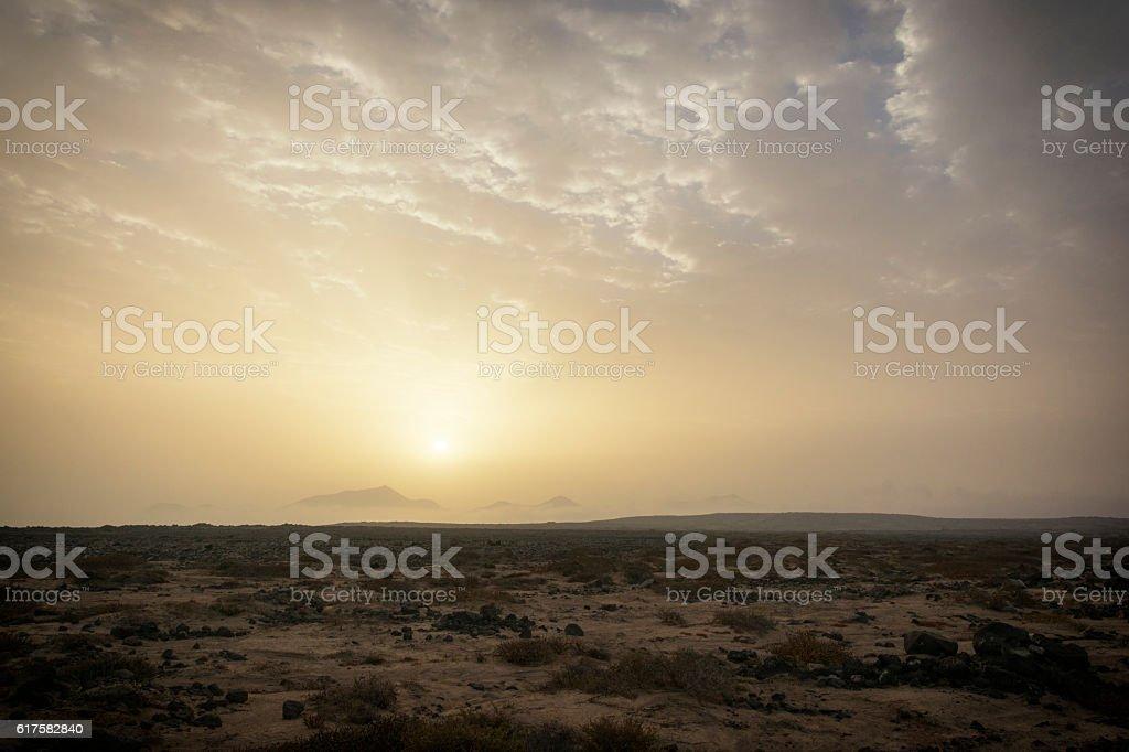Desert Sunrise Playa Blanca Lanzarote Spain stock photo
