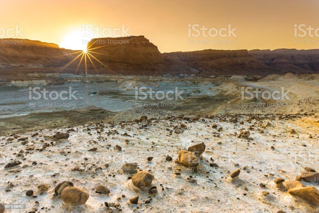 Desert sunset at Masada fortress stock photo