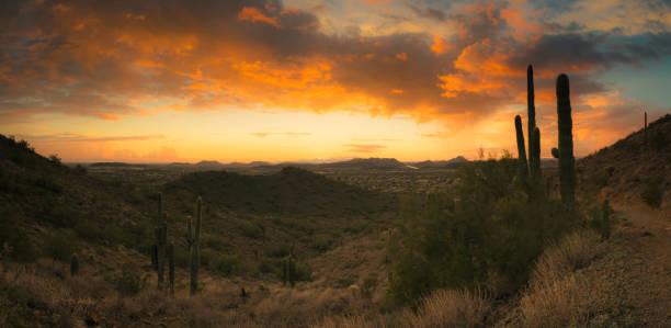 Desert Sunset Panorama Near Phoenix, AZ stock photo
