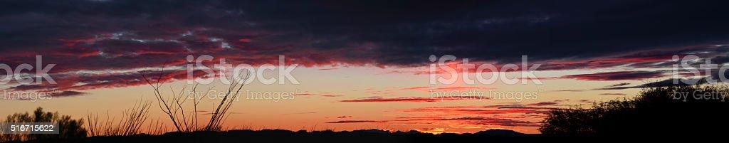 Desert Sunset Panoramic stock photo
