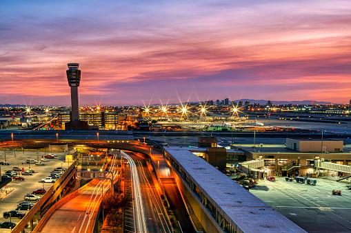 Sunset as viewed from the Phoenix, Arizona  airport