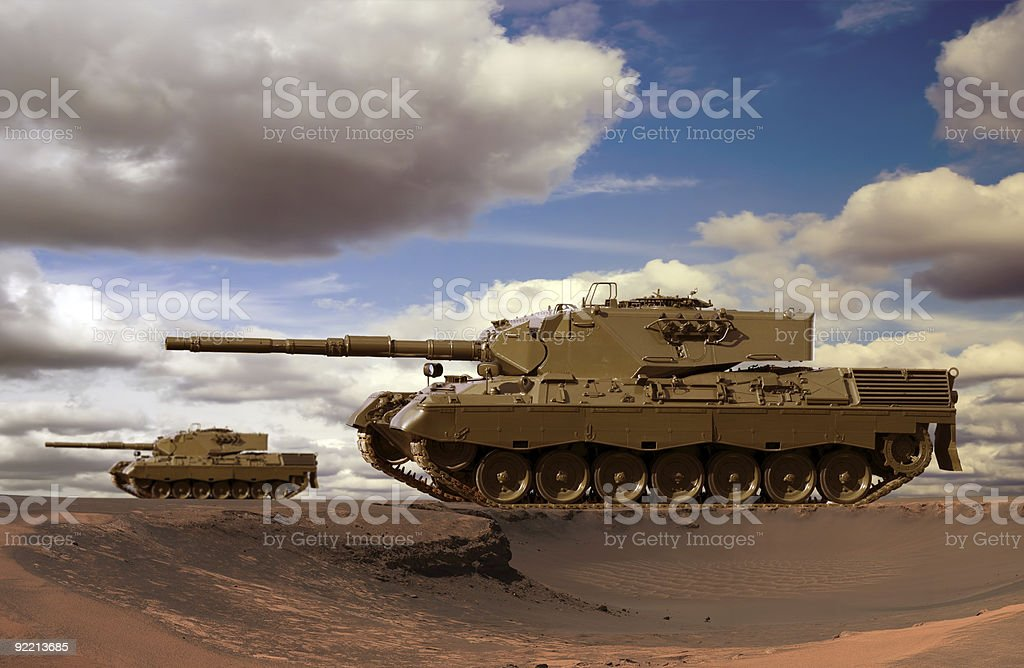 Desert Tank Battle stock photo