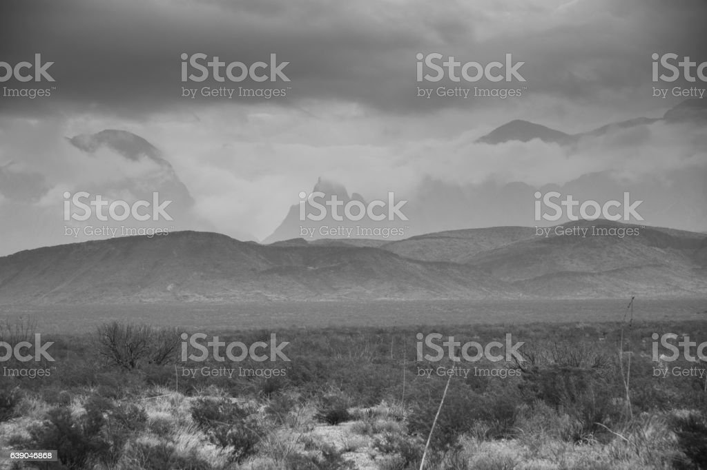Desert to mountains in Black and White stock photo