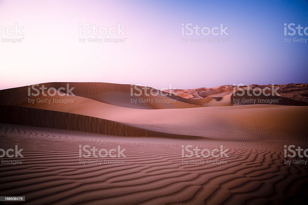 Desert Twilight Rub' al Khali of Abu Dhabi, UAE stock photo