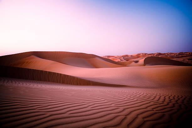 Desert Twilight Rub' al Khali of Abu Dhabi, UAE stock photo