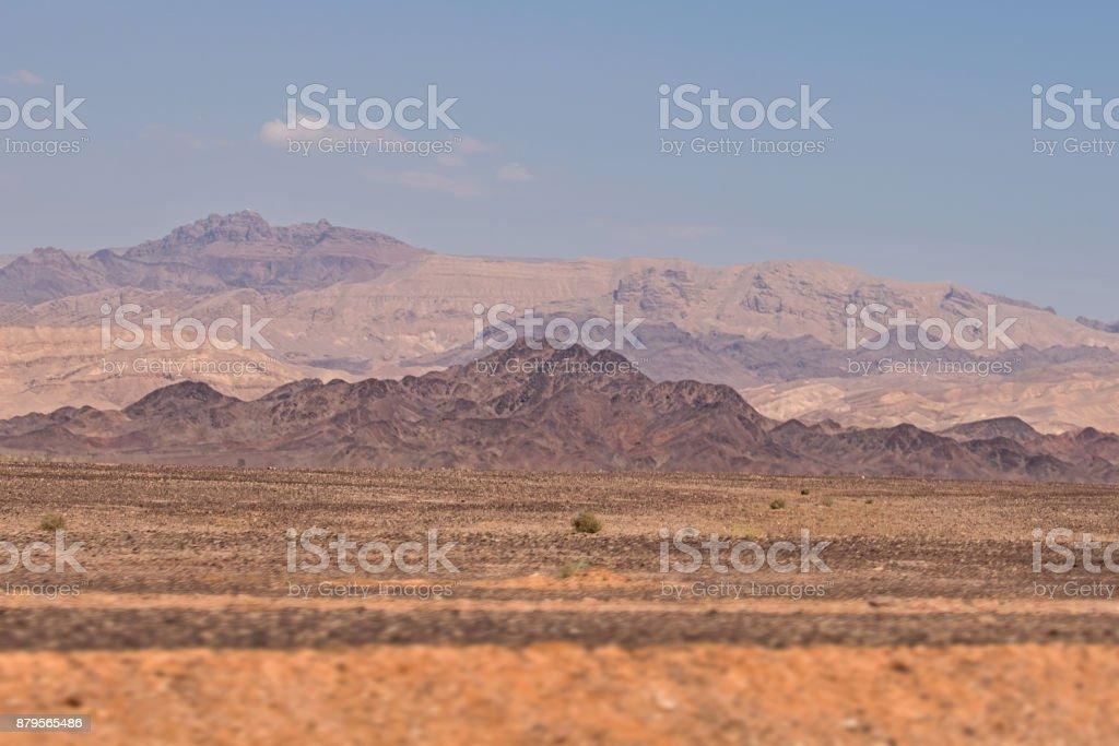Desert view on the roadside of Jordan stock photo