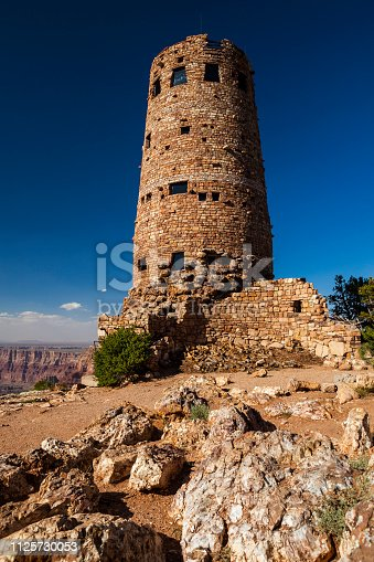 Desert View Watchtower overlooking the majestic landscape of the Grand Canyon in Arizona, USA.