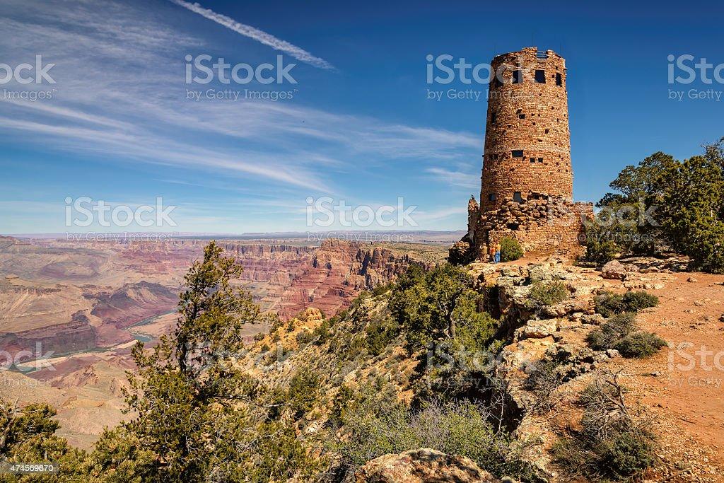 Desert View Watchtower Grand Canyon South rim stock photo