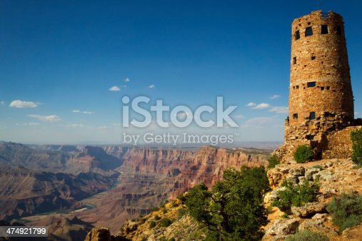 Desert View Watchtower overlooking The Grand Canyon in Grand Canyon National Park, Arizona, USA. It is considered one of the Seven Natural Wonders of the World and stretches 277 miles long.