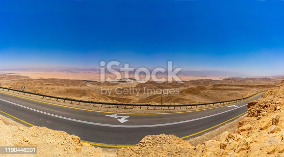 High resolution photo of Negev Desert vith road panoramic view