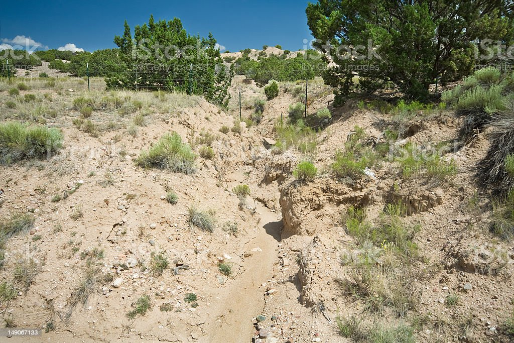 Desert Wash Arroyo Showing Erosion Rural New Mexico stock photo