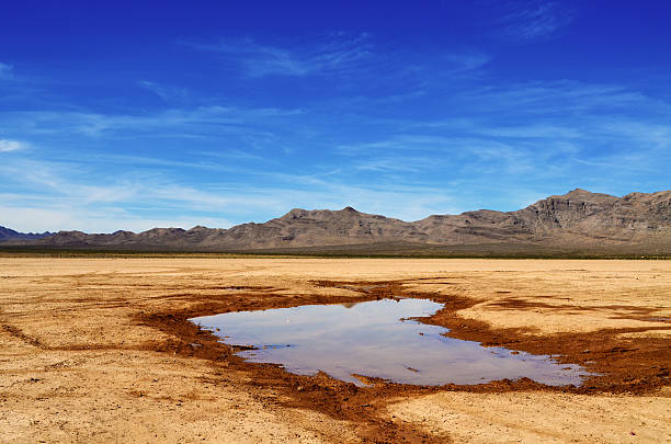 Desert Waters Rain waters collected in the dry lake beds of Las Vegas. lake bed stock pictures, royalty-free photos & images