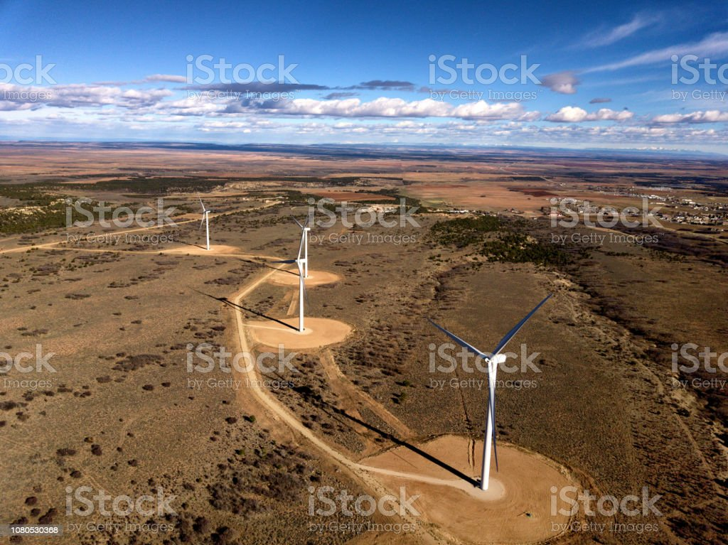 Desert Wind Turbines Remote location with large wind turbines in the Southwest USA 4K Resolution Stock Photo