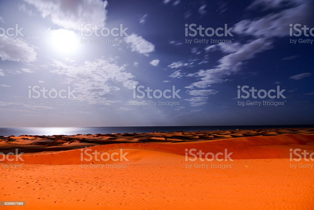 Desert with sand dunes in Gran Canaria Spain royalty-free stock photo
