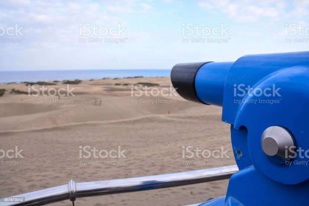 Desert with sand dunes in Gran Canaria Spain stock photo