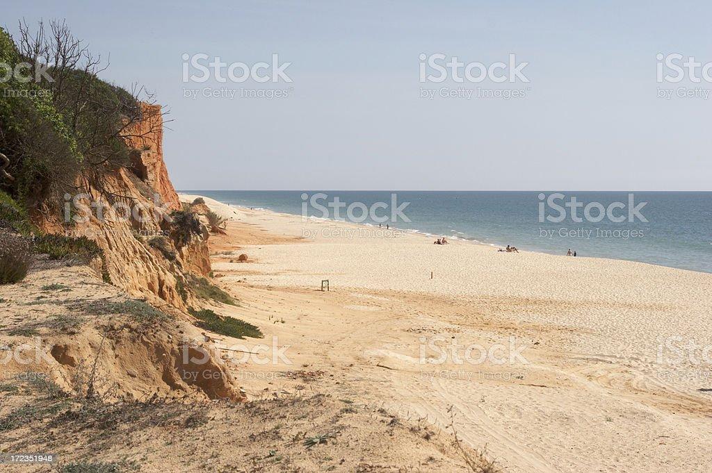 Deserted Algarve beach steep cliff royalty-free stock photo