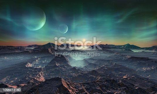 istock Deserted alien planet 1098413160